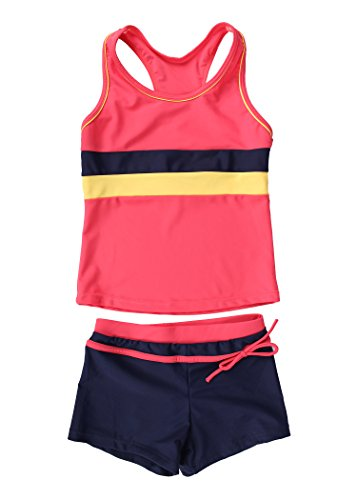 JerrisApparel Little Girls' Summer Two Piece Boyshort Tankini Kids Swimsuit (6-7/Tag Size XL, Watermelon Red)