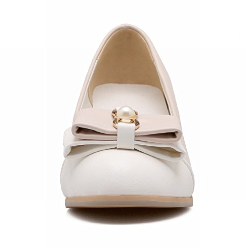 Elegance Womens Beige Bows Sweet Shoes Colors Pumps Assorted Mid Chunky Carolbar Heel Dress xX4Udq4