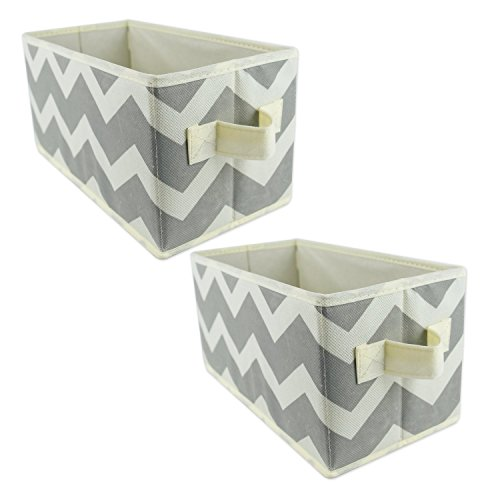 DII Fabric Storage Bins for Nursery, Offices, & Home Organization, Containers Are Made To Fit Standard Cube Organizers (11×5.5×5.5″) Chevron Gray – Set of 2