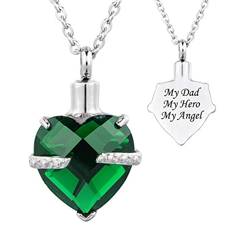 HOUSWEETY 12 Birthstone Crystal Urn Necklace Heart Memorial Keepsake Pendant Ash Holder Cremation Jewelry for Ashes-My Dad My Hero My Angel ()