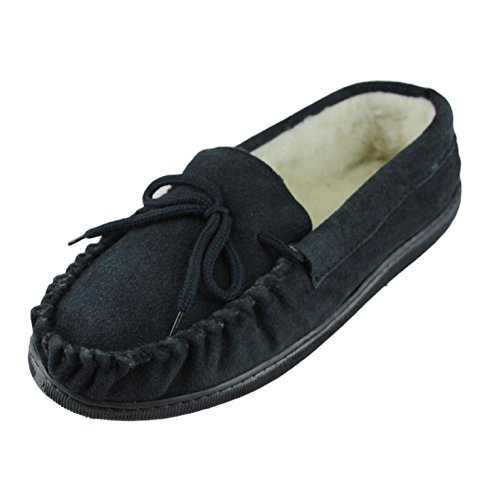 Upper Mens Lambswool Sheepskin Suede Deluxe Sole Slippers Moccasin Thick World Extra Navy Hard 1qnPxFC