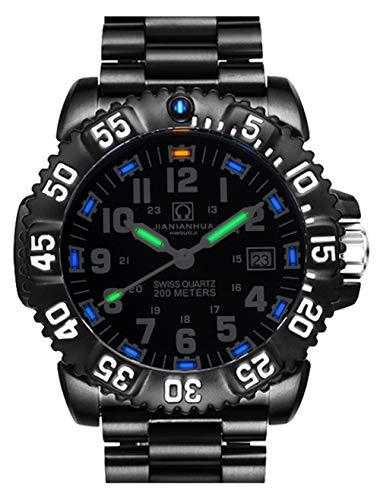 Men's Outdoor Military Tritium Super Bright Self Luminous Quartz Watch (B2- Military Stainless Steel Black) ()
