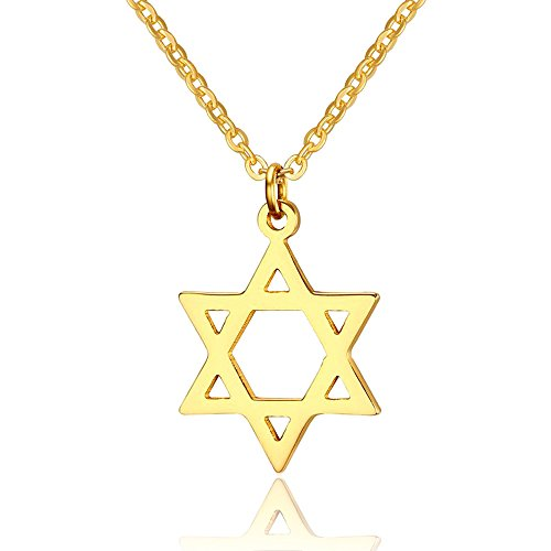 Yolanda Dainty Gold Jewish Star of David Pendant Necklace for Women Stainless Steel Jewelry