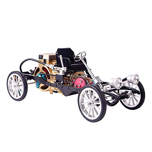 CNC Full Metal Assembly Running Car with Single Cylinder Gasoline Engine Model Toy Model Building Kits for Study/Gift