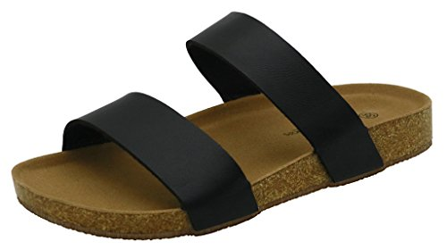 AgeeMi Shoes Unisex Slip On Offener Zeh Doppel Riemen Gummi Flats Sandalen Schwarz PU (EuL06)