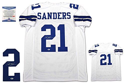 (Deion Sanders Signed Jersey - Beckett White - Beckett Authentication - Autographed NFL Jerseys)