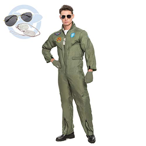 Men's Flight Pilot Adult Costume with Accessory for Halloween Top Gun Party (Small) Gray