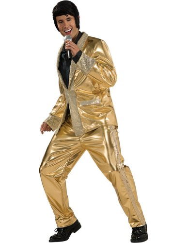 Rubieu0027s Super Deluxe Gold Lame Suit Elvis Costume - Adult Small  sc 1 st  Costume Overload & Adult Elvis King of Rock Halloween Costumes u0026 Wigs