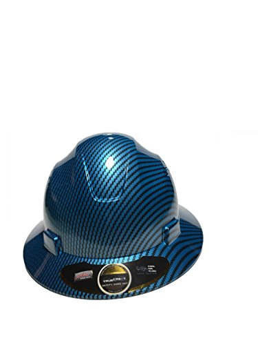 Full Graphics Hard Hat - HNTE-Blue/Black Fiberglass Hard Hat Safety Full Brim Helmet, Nylon Ratchet Suspension, 4-Point, {Top Impact} Safety Hard Hat Cool Air Flow Vent System
