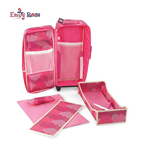 18 Inch Doll Accessories | Travel Doll Backpack Case / Carrier, Includes Heavy duty Trolley, Loads of Storage, and Removable Doll Bed with Bedding | Fits 18