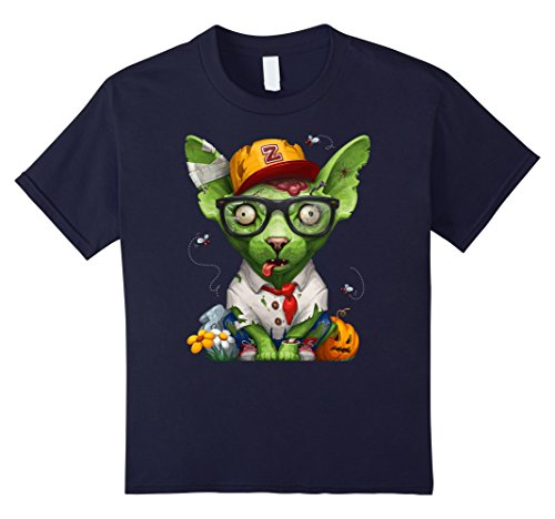 Kids Zombie Sphynx Cat Halloween T-Shirt 12 Navy - Sphynx Cats In Costumes