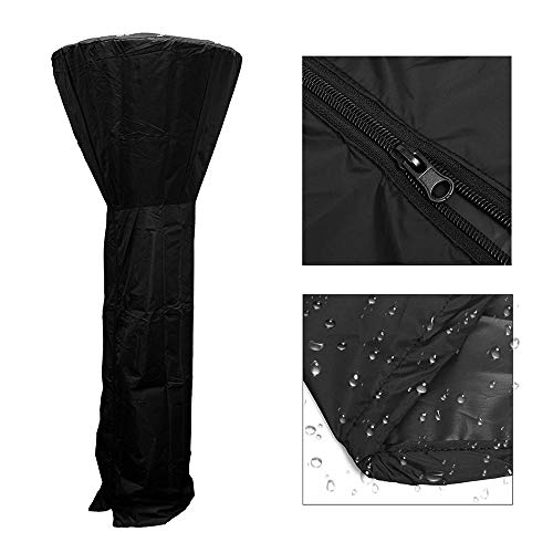 Womdee Patio Heater Cover,Outdoor Weatherproof Flame Full Length Cover Patio Furniture Cover for Stand Up Round Dome Heaters,87 Inch Tall,Black