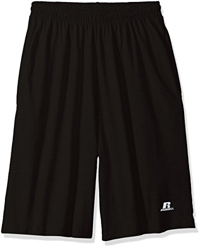 Russell Athletic Men's Big and Tall Cotton Jersey Short With Pockets, Black, 4X (Russell Shorts Athletic Jersey)