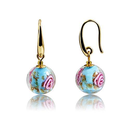 Vintage Light Blue Floral Flower Handmade Murano Glass Round Ball Dangle Earrings Golden Plated