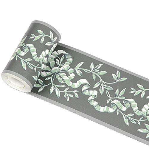 - Green Floral Waterproof PVC Self Adhesive Wallpaper Border Stick and Peel Wall Borders for Kitchen Bedroom Living Room Home Decor Wall Stickers 3.94 inch X 32.8 feet