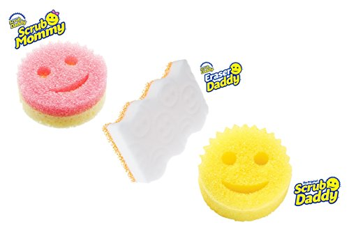 Scrub Daddy® - Scrub Mommy + Scrub Daddy FlexTexture Scrubbers + Dual Sided Eraser Daddy (3 Total)