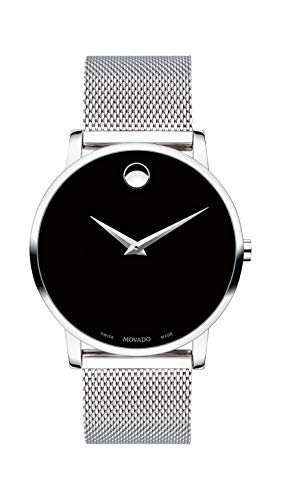 Mens Elegance Black Dial - Movado Men's Museum Stainless Steel Watch with Concave Dot Museum Dial, Black/Silver (Model 607219)