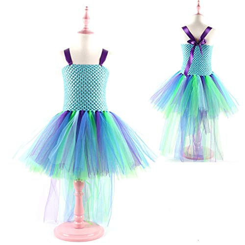 Princess Girls Peacock Costume Tutu Dress Kids Party Dresses