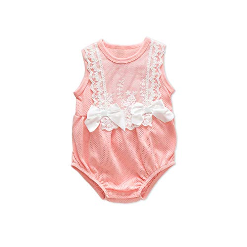 Newborn Girl Clothes Romper Sleeveless Lace Summer Jumpsuit Bodysuit Outfit with Bowknot Baby Onesies Girls for 0-3 Months (Pink-2, 66(0-3M))