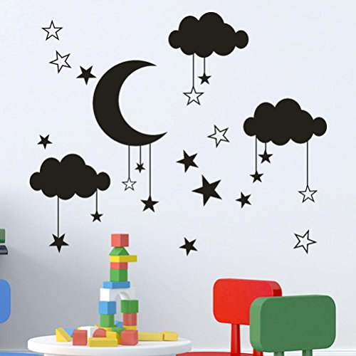 3D Wall Stickers,TPTPT New Pendant Star Moon Cloud PVC Wall Decal Sticker for Living Room (black)