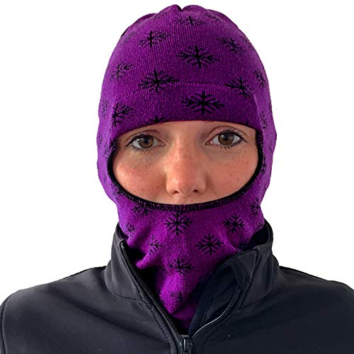Balaclava Outdoor Wear Hat Cap Unisex New Zealand Made Merino Wool Luxurious Warmth and Soft with a Light Weight Stretchy Face Mask Stylish Unique Moisture Wicking with Thermal Properties Purple (Running Wool Hat)