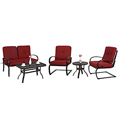 "Cloud Mountain 5 Piece Metal Conversation Set Cushioned Outdoor Furniture Garden Patio Wrought Iron Conversation Set with Coffee Table Loveseat Sofa 2 Chairs, Brick Red - 【COMFORTABLE CUSHION】: This set features durable Sponge (Interior) / Olefin fabric (Cover), which is strong and easy to clean. Seat cushion with tether to fix it from being blown. Cushion with 6"" thickness gives you the best experience than others. 【ARTISTIC STRUCTURE DESIGN】: Our outdoor chair with bow-shaped legs provide a comfortable seating experience. This design can support the maximum weight capacity and provide a bow function. Table with hollow-carved table can be easily clean and support much more items on it. Durable wrought iron frame for a long time use. 【HUMANIZATION ANTISKID FOOT】: Patio chair set with table is attached with anti-skid rubber foot cushion, which can effectively protect you from sliding when you are sitting in chairs and protect your phones, wines, etc. from falling down. It is safer than others. - patio-furniture, patio, conversation-sets - 41qllX5 TXL. SS400  -"