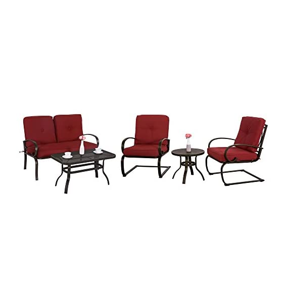 "Cloud Mountain 5 Piece Metal Conversation Set Cushioned Outdoor Furniture Garden Patio Wrought Iron Conversation Set with Coffee Table Loveseat Sofa 2 Chairs, Brick Red - 【COMFORTABLE CUSHION】: This set features durable Sponge (Interior) / Olefin fabric (Cover), which is strong and easy to clean. Seat cushion with tether to fix it from being blown. Cushion with 6"" thickness gives you the best experience than others. 【ARTISTIC STRUCTURE DESIGN】: Our outdoor chair with bow-shaped legs provide a comfortable seating experience. This design can support the maximum weight capacity and provide a bow function. Table with hollow-carved table can be easily clean and support much more items on it. Durable wrought iron frame for a long time use. 【HUMANIZATION ANTISKID FOOT】: Patio chair set with table is attached with anti-skid rubber foot cushion, which can effectively protect you from sliding when you are sitting in chairs and protect your phones, wines, etc. from falling down. It is safer than others. - patio-furniture, patio, conversation-sets - 41qllX5 TXL. SS570  -"
