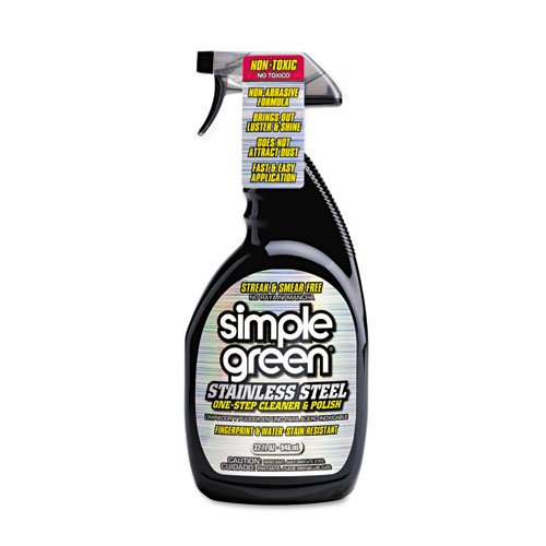 simple green Stainless Steel One-Step Cleaner & Polish, 32 oz. Spray Bottle - Includes 12 per case.