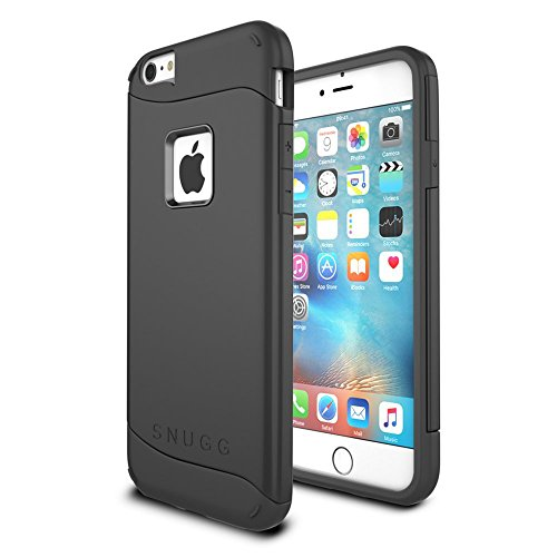iPhone 6 Plus and 6S Plus Case, Snugg Apple iPhone 6 Plus and 6S Plus Dual Layer Slim Case Cover [ Infinity Series ] - Protective Bumper Shell Skin - Black