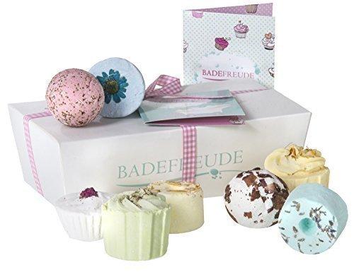 Deluxe Badebomben 8er Geschenkset Lumunu Badefreude Euphoria, 8 Badesalz Badepralinen in Geschenkbox mit Karte, von Venize Bild