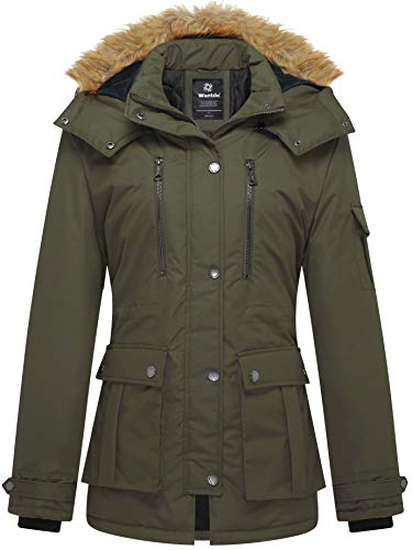 Wantdo Women's Thickened Parka Coat with Removable Fur Hood US Medium Army Green