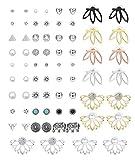 Hanpabum 35Pairs Assorted Multiple Stud Earrings set Fashion Stud Earring Set for Teens Girl Women