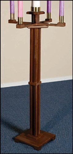 Maple Hardwood Church Sized Standing Advent Candlestick Holder in Walnut Stain by Will & Baumer