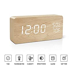 BlaCOG Alarm Clock Digital Desk Wooden Alarm Clock Upgraded with Time Temperature, Adjustable Brightness, 3 Set of Alarm and Voice Control - Bamboo