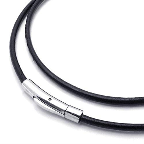 Jonline24h Black Leather Cord Necklace Rope Chain with Stainless Steel Clasp, 3mm, 14-30 inch(16)