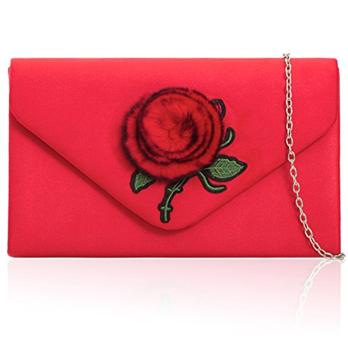 Strap Long Ladies Pom London Medium Pom Suede Evening Leather Women Prom Faux Chain Envelope With Shoulder Bag Shaped Red Parties Xardi Clutch Floral C1xxn