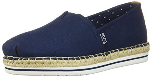 Skechers BOBS Women's Bobs Breeze-Canvas Espadrille Memory Foam Slip on Ballet Flat NVY 5.5 M US