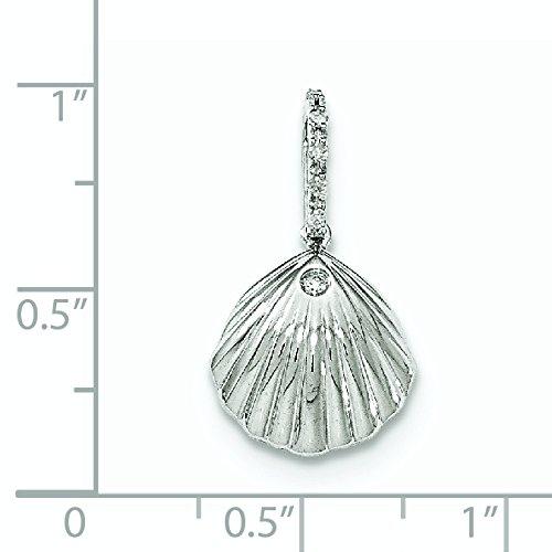 Or blanc 14carats Diamant-Pendentif coquillage-16