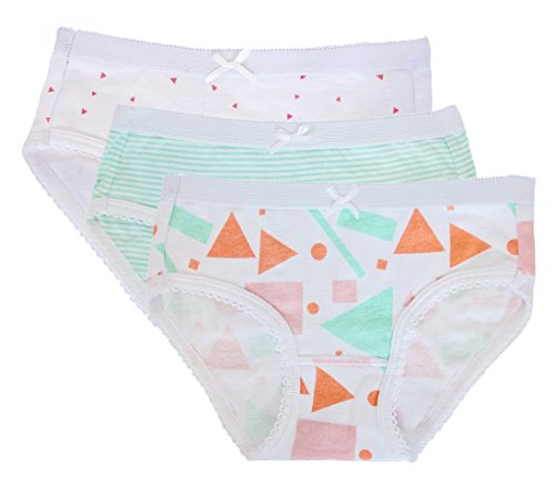 - Feathers Girls Mod Print Tagless Briefs Underwear Super Soft Panties 3-Pack size: 6