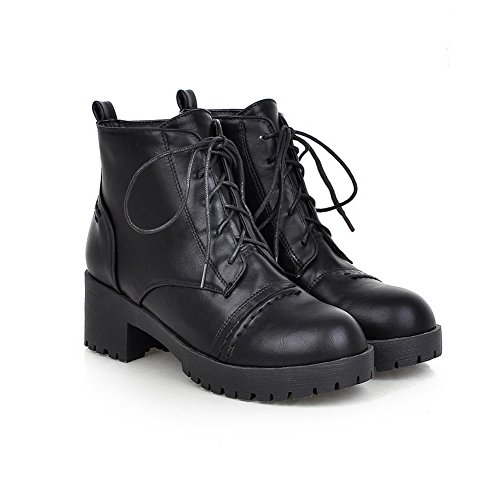 AdeeSu Ladies Lace-Up Low Heels Casual Imitated Leather Boots Black H0811IZQtR