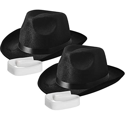 (NJ Novelty - Fedora Gangster Hat, Black Pinched Hat Costume Accessory + White Band (Black - 2 Pack))