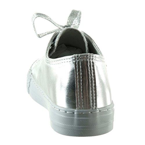 Plano Plata Angkorly De Brillantes Tacón 5 2 Talón Deportivos Cm Moda Mujer Zapatillas B7R68