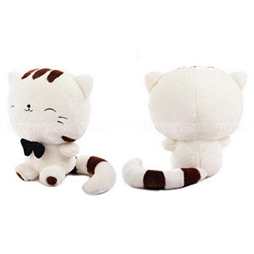 18 Inch White Smile Cat Cute Plush Stuffed Animal Toys Cushion Fortune Cat Doll 45cm Include Tail Soft (Cheshire Cat Halloween Diy)