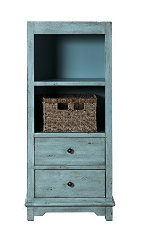 Coaster Home Furnishings 950755 Coaster Traditional Rustic Blue Accent Cabinet with Woven Basket