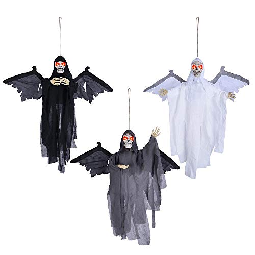 AW Animated Scary Hanging Ghosts Sound Sensor Haunted Halloween Prop Flying Skull Red Flashing Eyes Pack of 3]()