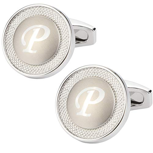 (GWD Cufflinks for Men Shirt Premium Quality Personalized Initials Alphabet A-Z Gift Box (Silver)