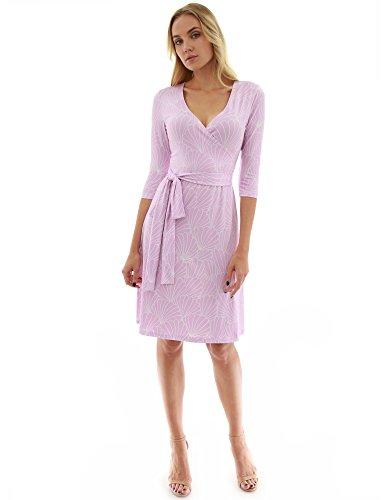 - PattyBoutik Women Faux Wrap A Line Dress (Light Purple and White 30 Large)