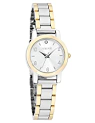 Ferenzi Women's | Trendy Silver Gold Two-Tone Watch with Small Crystal Accent dial and Stainless Steel Link Band | FZ15002