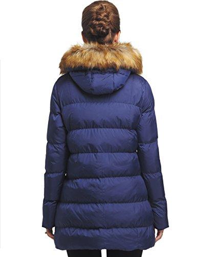 Femme Foncé À Capuche Blouson Fourrure D'hiver Wenven Bleu Manteau Avec Matelassé BPwngPCdq