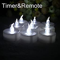 Topstone Battery Powered Flamless Tealight Candles,With 4H 6H 8H Timer and Remote-Control ,3-Dozen Pack (36)